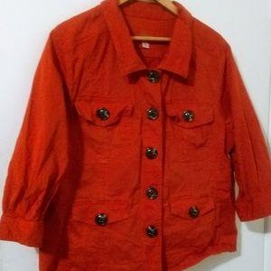 Nordstorm Caslon Orange Cotton Utility Jacket